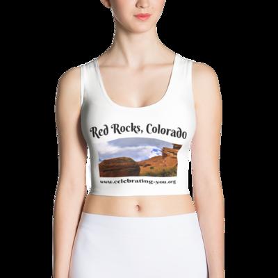 Celebrating You Designer Sublimation Cut & Sew Crop Top - Red Rocks Colorado