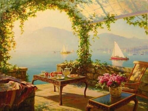 "Репродукция картины ""Балкон с видом на море"""