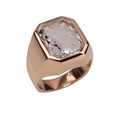 Aquamarine Crest Ring in 18kt Rose Gold