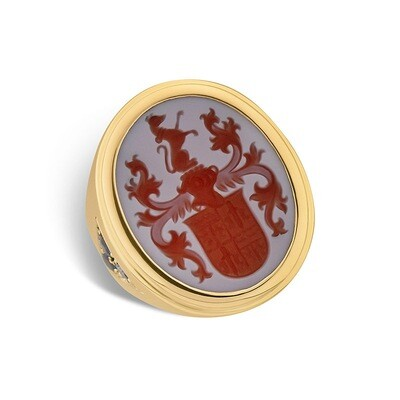 Crest Ring -Sardonyx Coat of Arms set in 18kt Gold with Diamonds