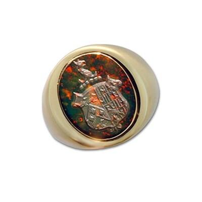 Bloodstone Family Crest Ring in 14k Gold