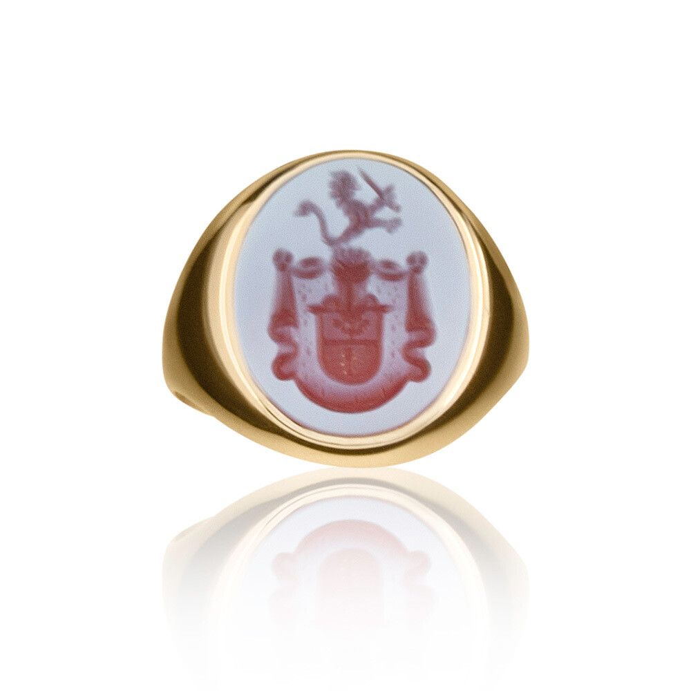 Crest Ring -Sardonyx Coat of Arms set in 14kt Gold