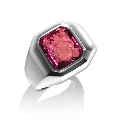 Amethyst Crest Ring in 18kt White Gold