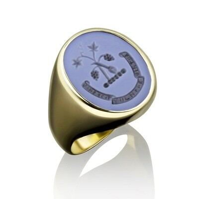 Family Crest Ring in Blue-Black Agate in 14kt Gold-Crest and Motto
