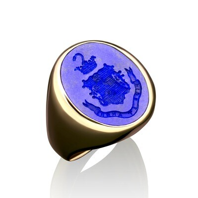 Lapis Crest Ring for a Man in 14kt Gold-Open Back