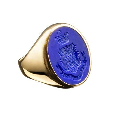 Lapis Lazuli Crest Ring for a Woman in 14kt Gold-Open Back