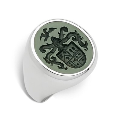 Bloodstone Crest Ring in Silver for a Woman