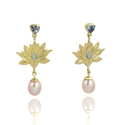 Gold Lotus Flower Gemstone and Pearl Drop Earrings to Match Your Cameo Jewel.