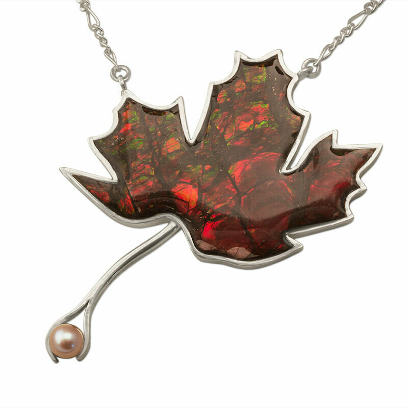 Maple leaf Necklace in Canadian Ammolite and Silver