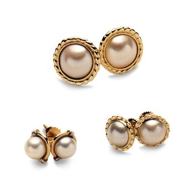Gold and Pearl Stud Earrings to Wear With Your Cameo.