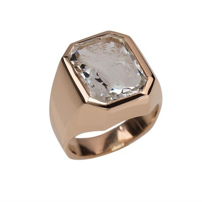 Aquamarine Crest Ring in 18kt Rose Gold
