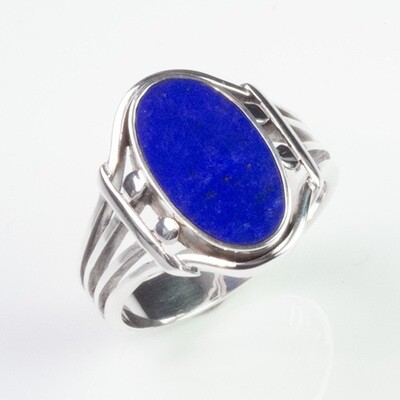Lapis Lazuli Gemstone Ring for a Woman in Silver or Gold