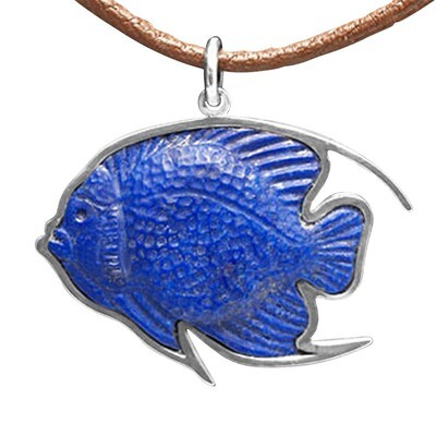 Lapis Lazuli Gemstone Angelfish Necklace