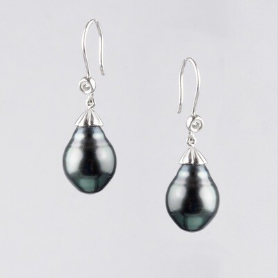 Black Pearl & Diamond Drop Earrings to Compliment Your Cameo.
