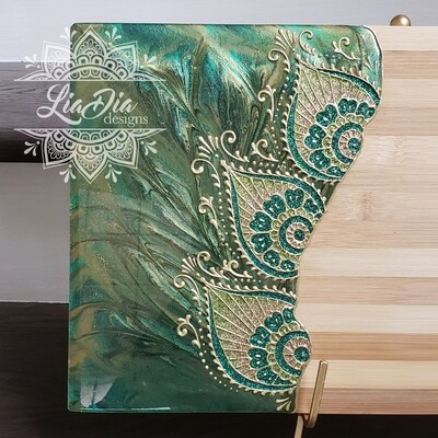 Regal Green Peacock Resin Cutting Board