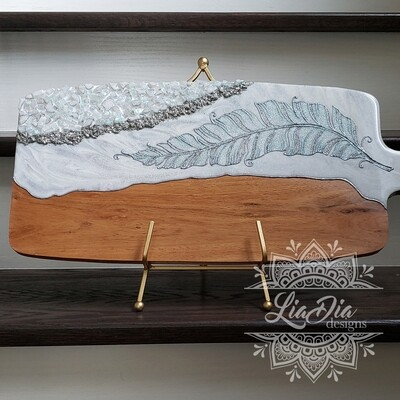 Iridescent Feather Resin Geode Style Charcuterie Cheese Paddle Board
