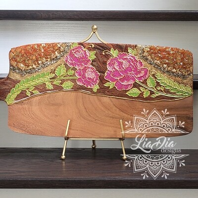 Pink Peonies Resin Geode Style Charcuterie Cheese Paddle Board