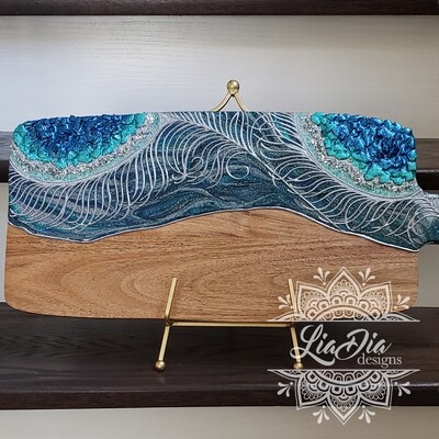 Silver Peacock Resin Geode Style Charcuterie Cheese Paddle Board