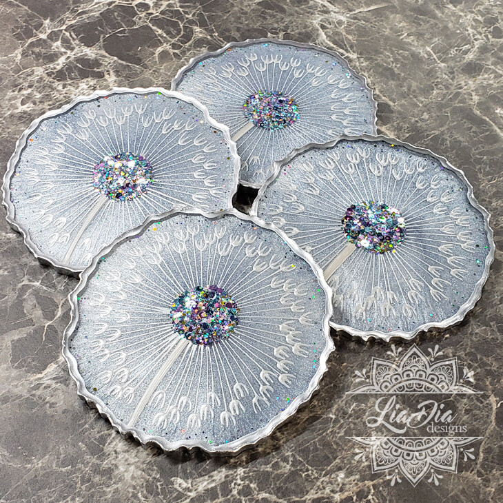 Ice Blue Dandelion Coasters - Set of 4