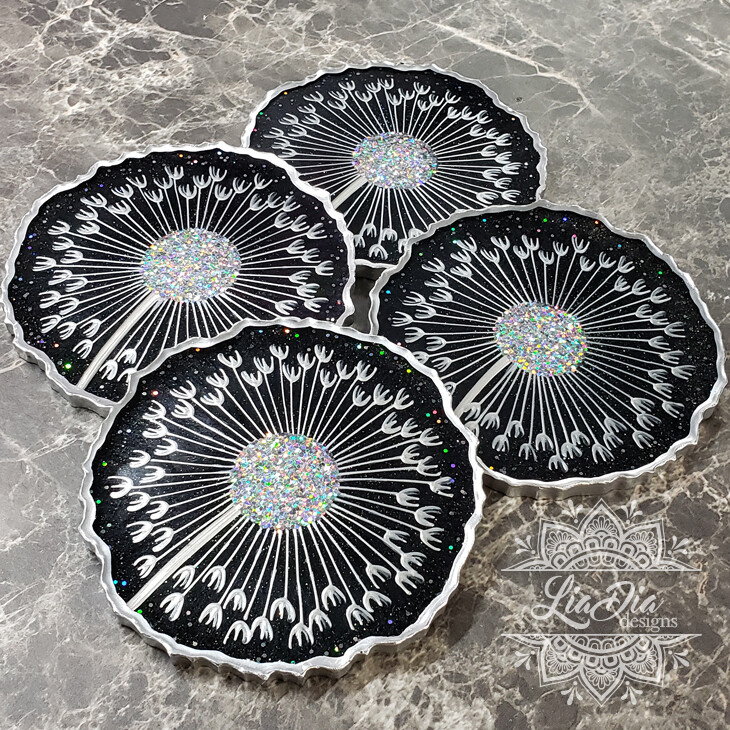 Galaxy Black Dandelion Coasters - Set of 4
