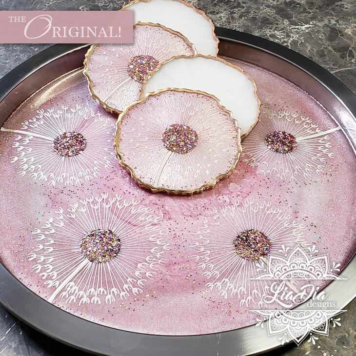 Pink Lemonade Dandelion Serving Tray and Coaster Set