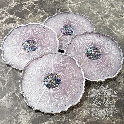 Lavender Dandelion Coasters - Set of 4