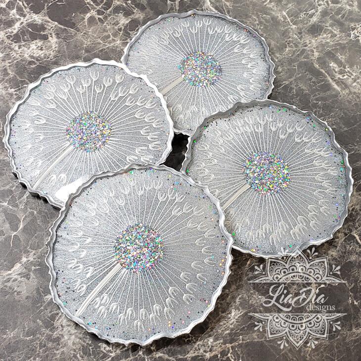 Celestial Silver Dandelion Coasters - Set of 4