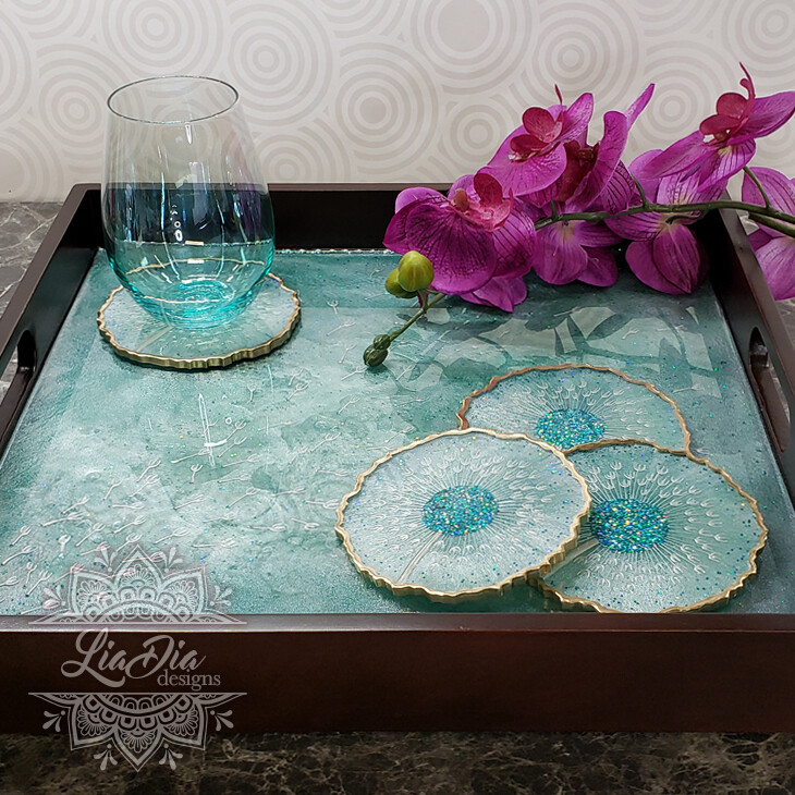 Turquoise Dandelion Wishes Serving Tray and Coaster Set