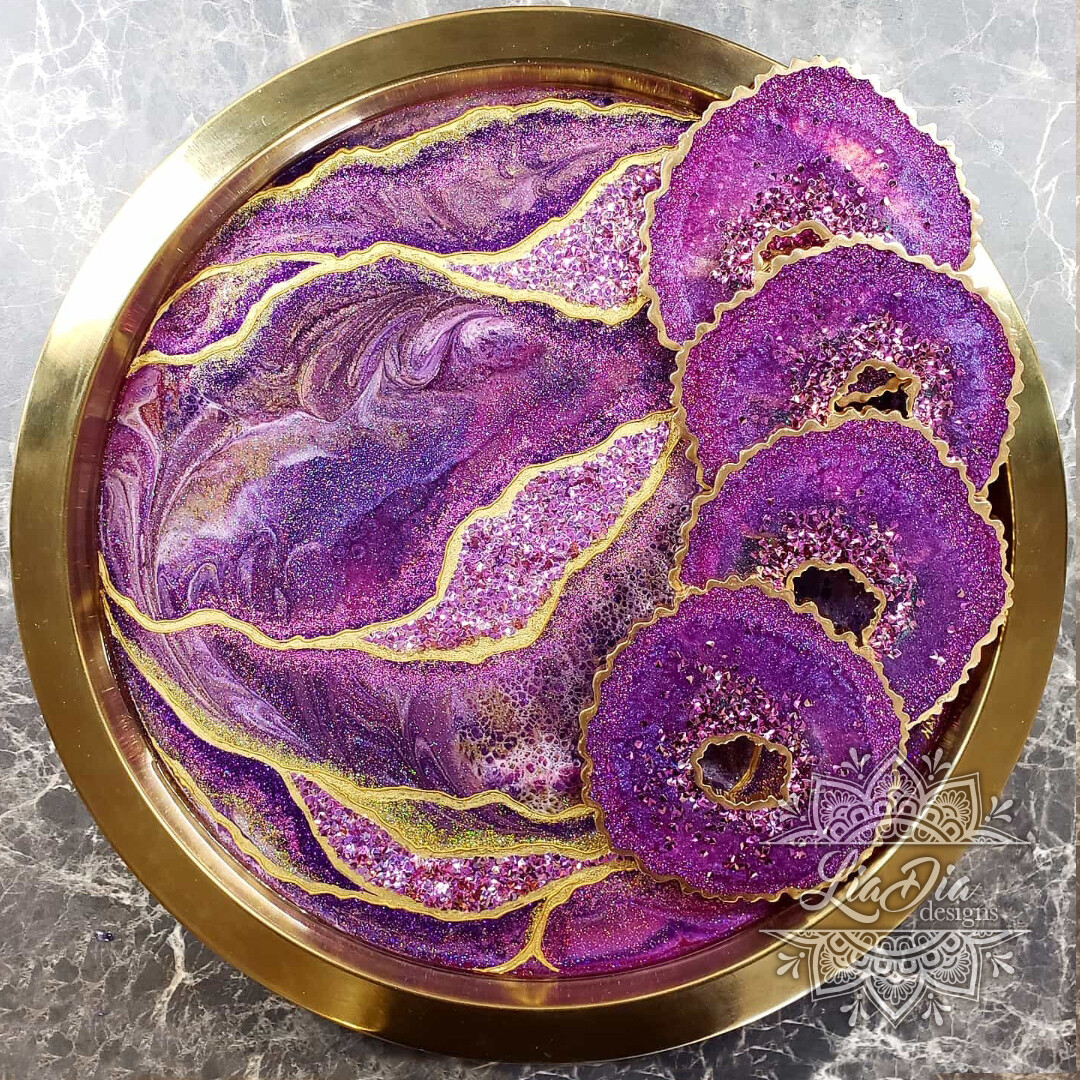 Fucshia and Gold Agate Geode Style Serving Tray
