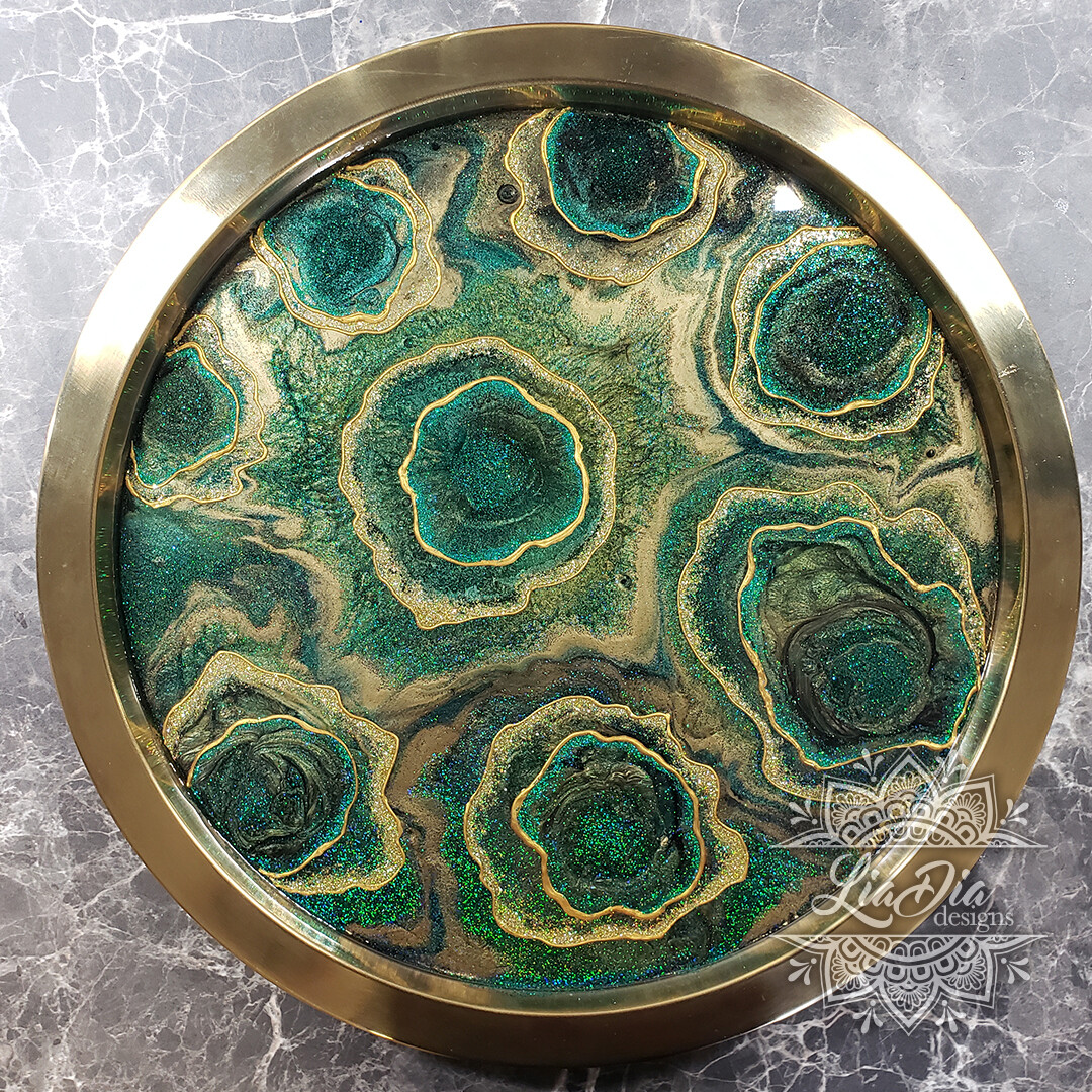 Malachite Roses Serving Tray