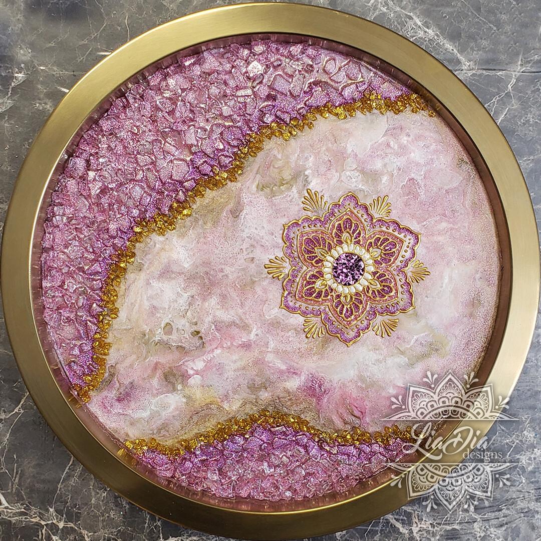 Pink and Gold Lotus Mandala Geode Tray