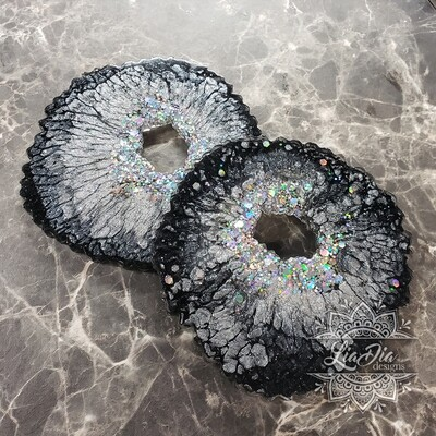 Black and Silver Agate Style Coasters - Set of 2