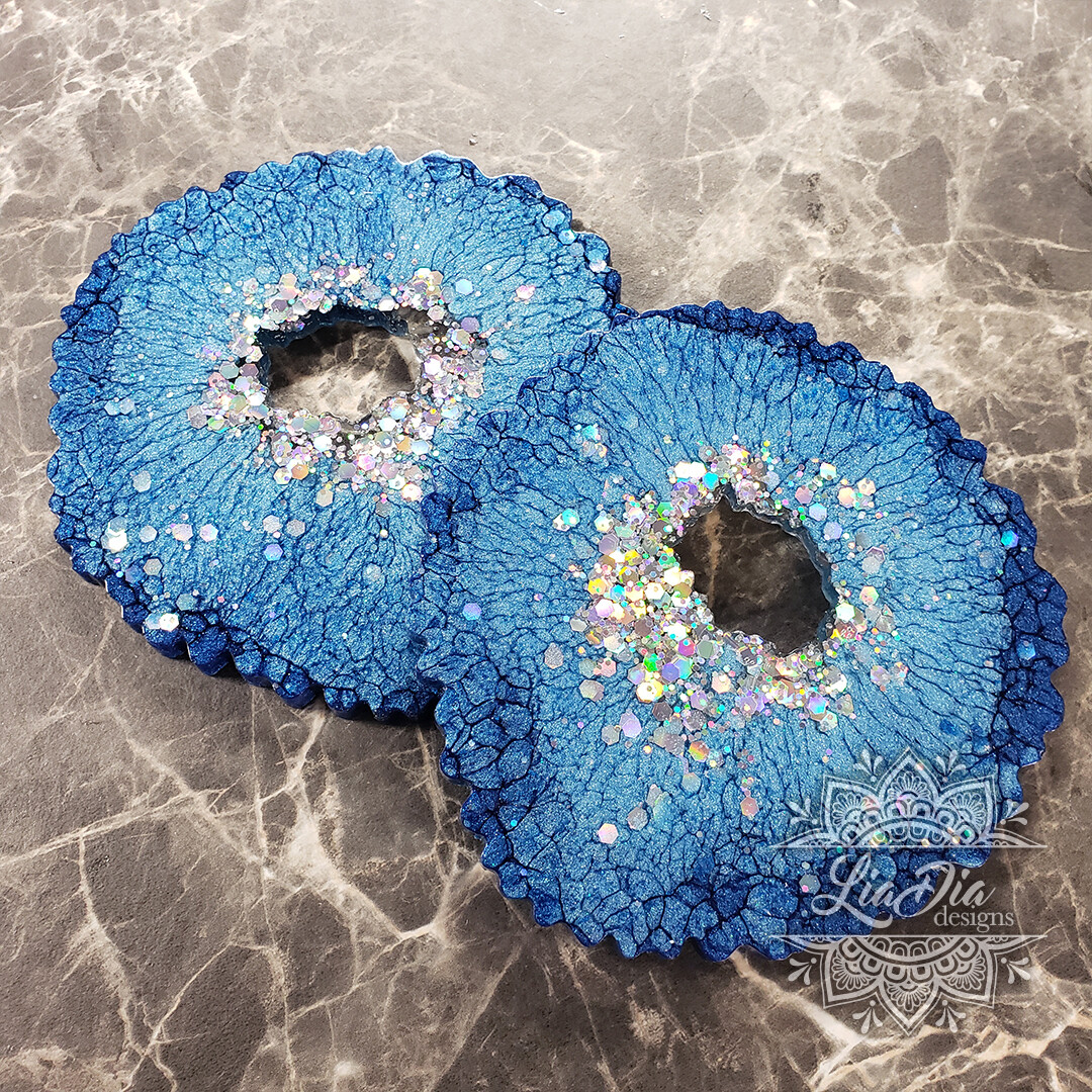 Royal Blue and Silver Agate Style Coasters - Set of 2