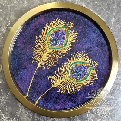 Golden Peacock Feathers Serving Tray