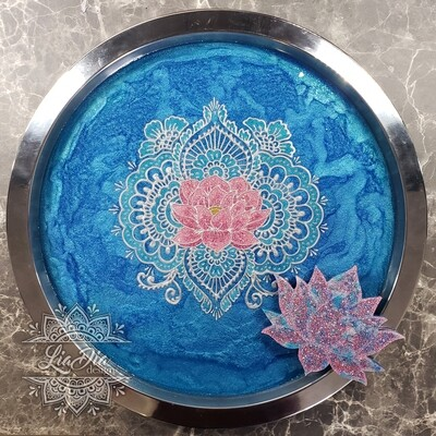 Pink and Blue Serenity Lotus Geode Tray
