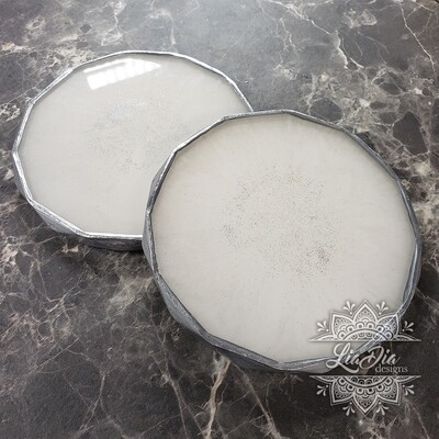 White and Silver Rhombus Coasters  - Set of 2 - Imperfect set - discounted price.