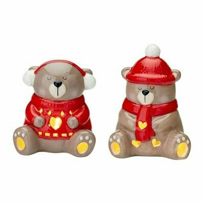 Ceramic Bear LED Tealights Set Bobble Hat