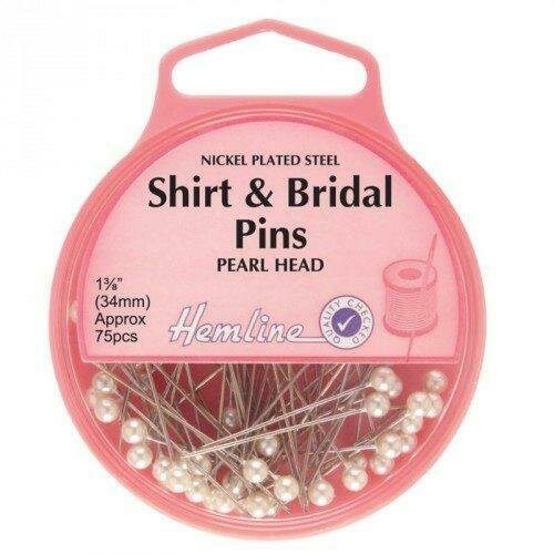 Hemline Shirt/Bridal Pearl Head Pins 75pc (676)