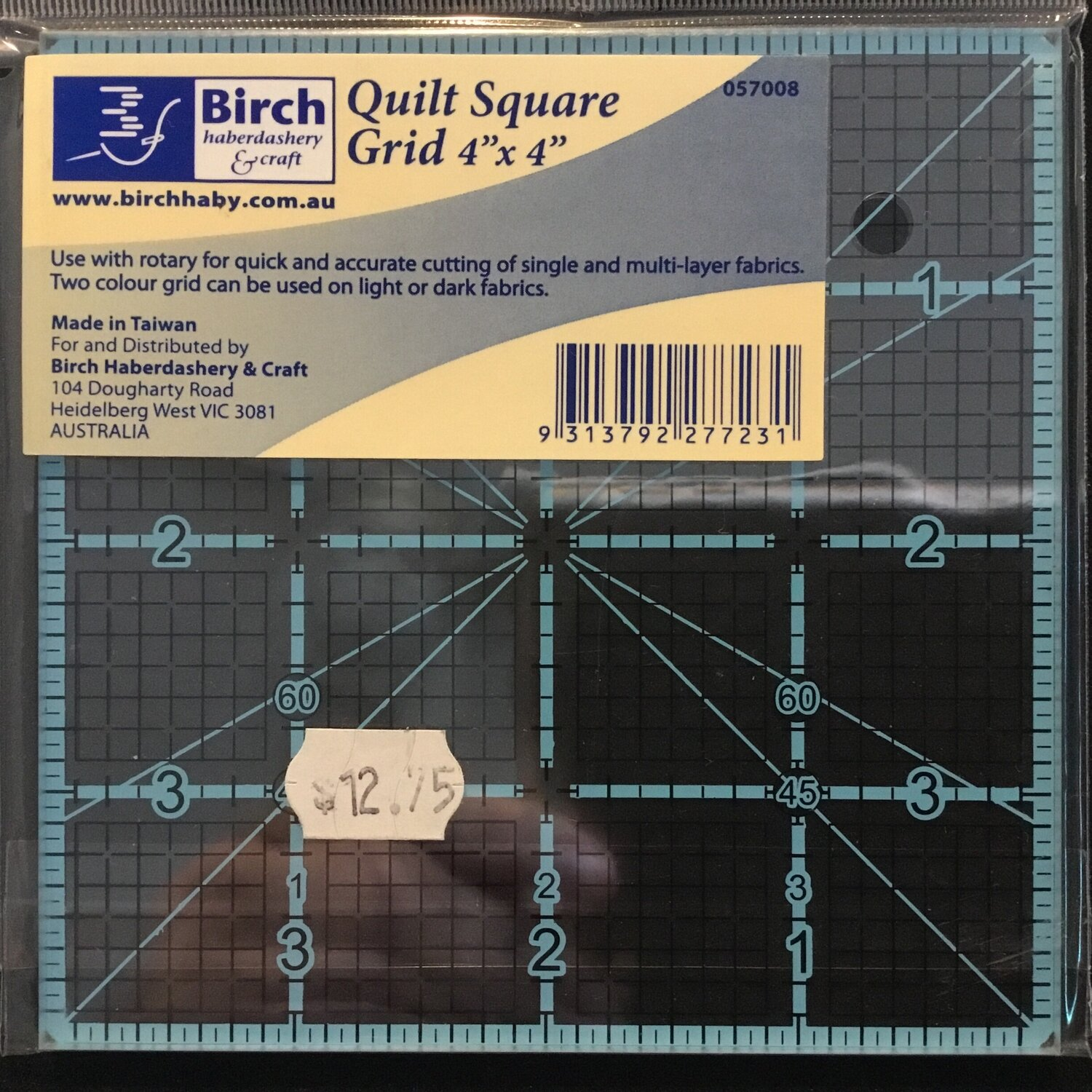 "Birch Quilt Grid 4"" Square"