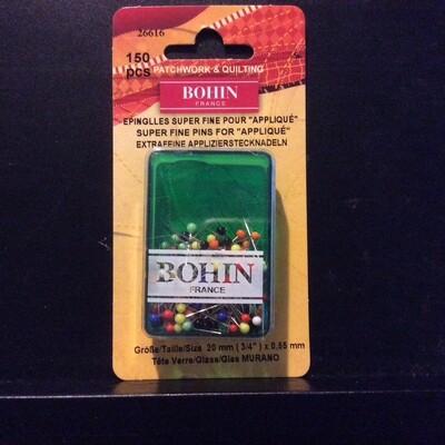 Bohin Glass Head Super Fine Pins 150pc