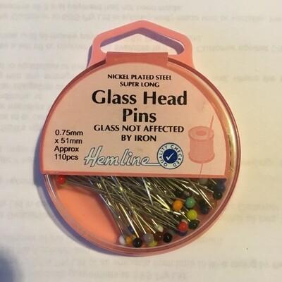 Hemline Glass Head Extra Long Pins 110pc (679.XL)