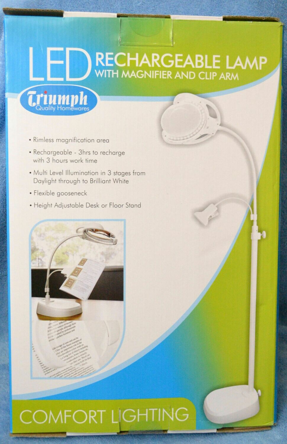 Triumph LED Rechargable Lamp w. Magnifier & Clamp (OD189)