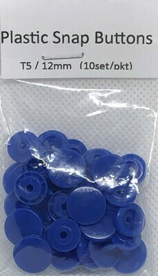 Plastic Snap Buttons T5/12mm (10set/pkt) Dark Blue