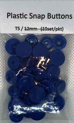 Plastic Snap Buttons T5/12mm (10set/pkt) Royal Blue