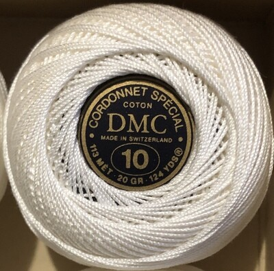 DMC Cordonnet #10 Cotton Blanc - White (Old Stock)