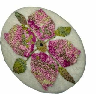 Thimblestitch Pink Petals Button / Brooch or Pendant