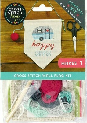 Cross Stitch Style Happy Camper Wall Flag Kit (99801)