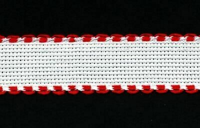 Aida Band 25mm White / Red Trim (7002.19) /10cm increments