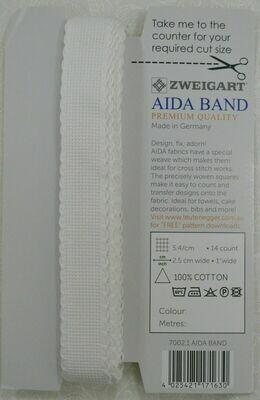 Aida Band 25mm White / White Trim (7002.1) /10cm increments
