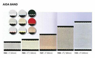 Aida Band 30mm White / Green Trim (7003.166) /10cm increments